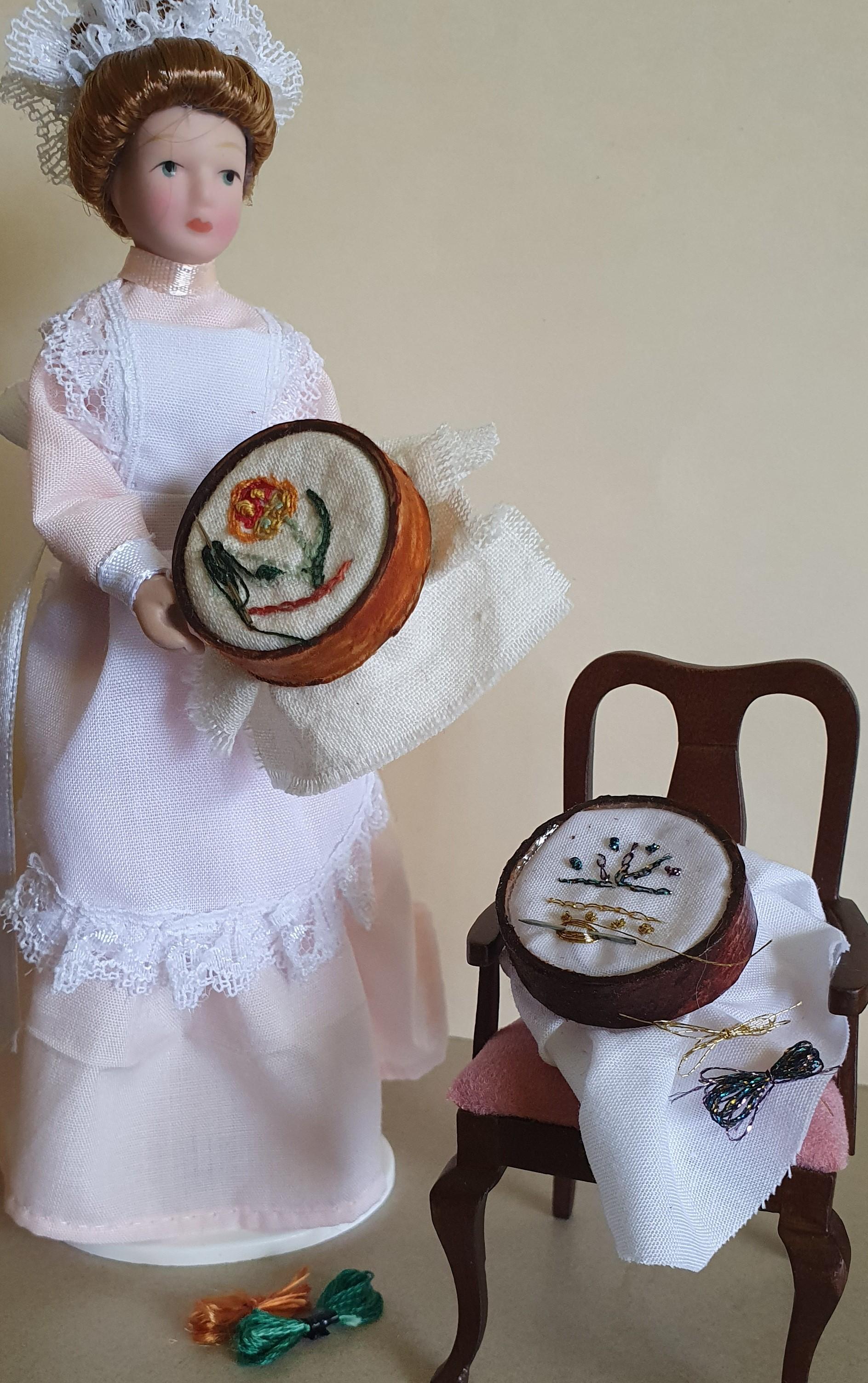 Hoop/embroidery/needle & silks $4