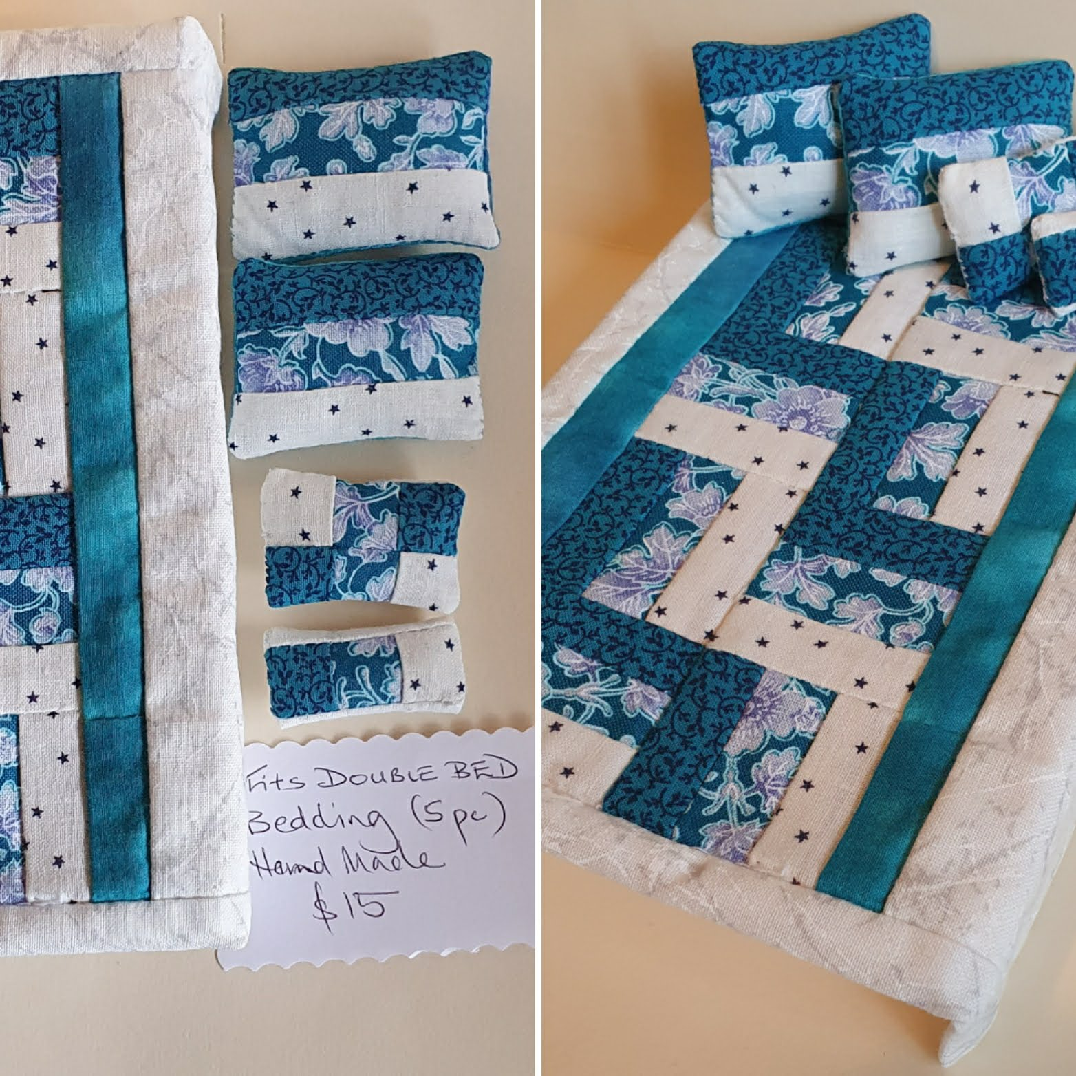 D/bd Quilt Set, Blue/white $15