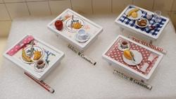 Breakfast trays w paper, $12.50 ea