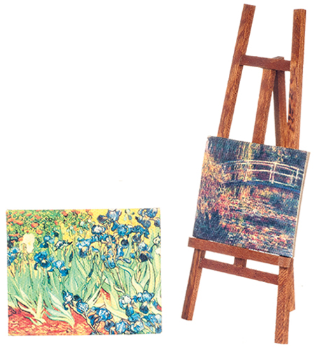 Easel w 2 paintings $12.50