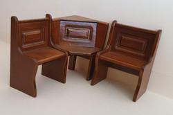 Nook Corner & 2 side benches, Walnut $30 set