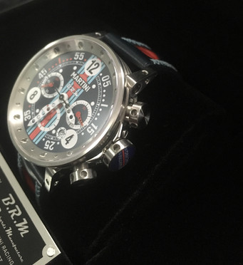 V12-44-MARTINI RACING Automatic chronograph 44mm stainless steel case  Blue dial  Martini Racing stripe Stainless steel crown with the Martini Racing™ logo Lightweight hands Leather strap with holes  Limited edition : 150 pieces  Automatic Valjoux 7753 chronograph movement Round calibre - automatic winding – 28,800 beats per hour - 27 jewels, 46-hour power reserve - 7.9mm thick - 60s chronograph function - 30 minute and 12 hour countdown - 10-hour date corrector – 2 o'clock pusher: chronograph stop/start - 4 o'clock pusher: chronograph reset  From $11,100.00