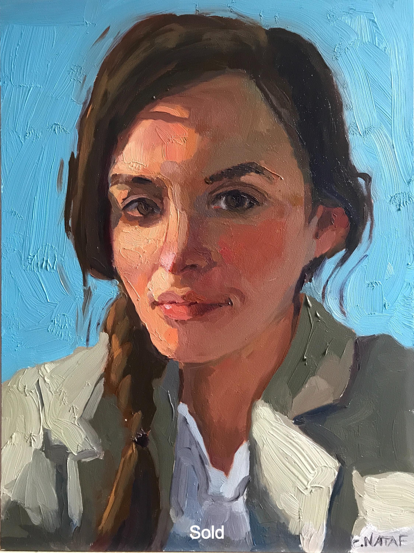 Self Portrait Blue Gesso