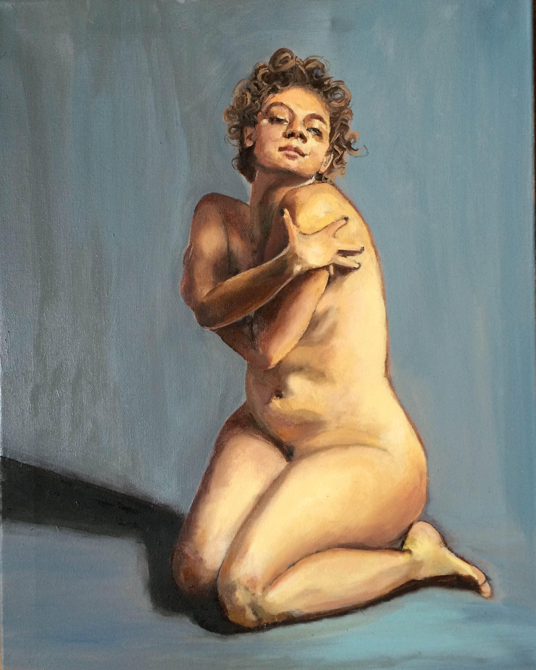 Woman Blue Original Oil Painting