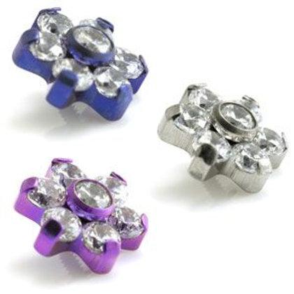 Titanium Micro Crystal Gem Flower - 6 Petals