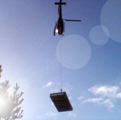 XPandacabin lifted with helicopter.