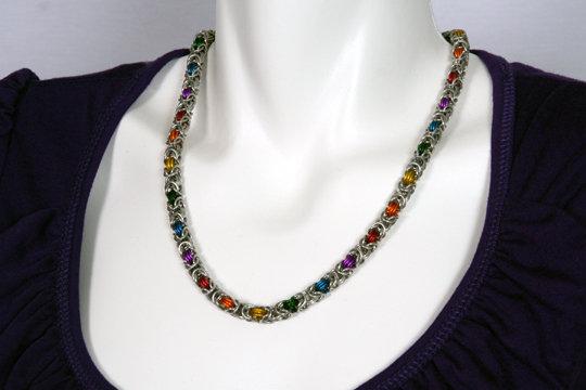 Petite Rainbow Byzantine Necklace