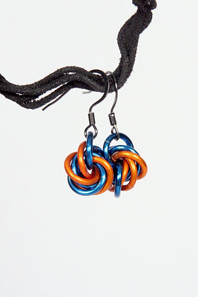Sporty Orange and Blue Mobius Earrings