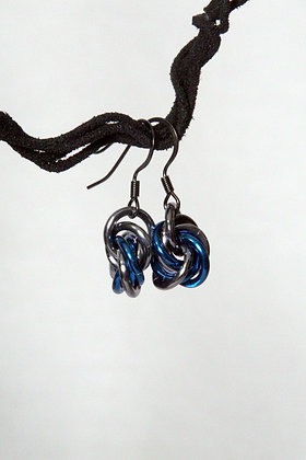 Sporty Blue and Ice Mobius Earrings