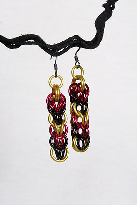Sporty Red Black and Yellow Persian Earrings