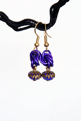Petite Purple Mobius Earrings