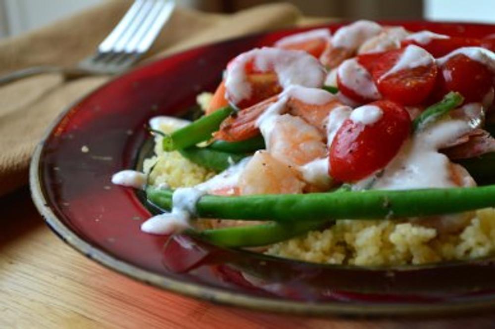 Shrimp & Green Beans with lemon garlic yogurt over couscous