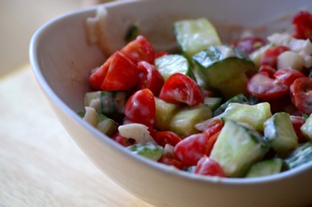 cucumbers and tomato