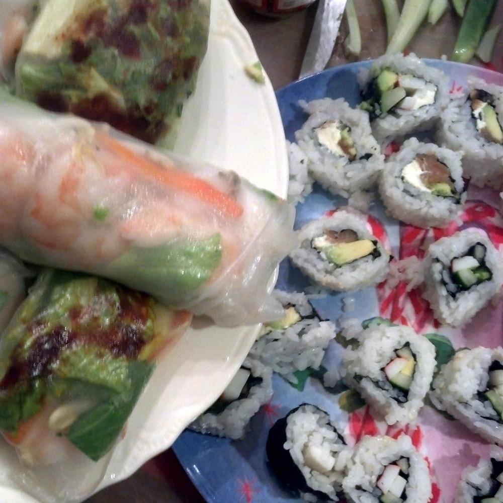 spring rolls sushi