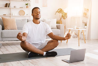 bigstock-Online-Yoga-Relaxed-African-A-3