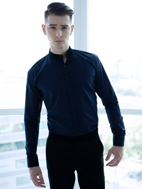 SHIRT WITH VELVET COLLAR