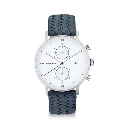 "KAPTEN & SON CHRONO SILVER ""LIGHT BLUE WOVEN LEATHER"" WATCH"