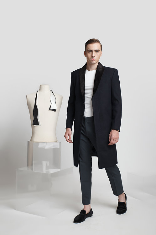 TAILORING TRENCH COAT WITH VELVET SHAWL COLLAR