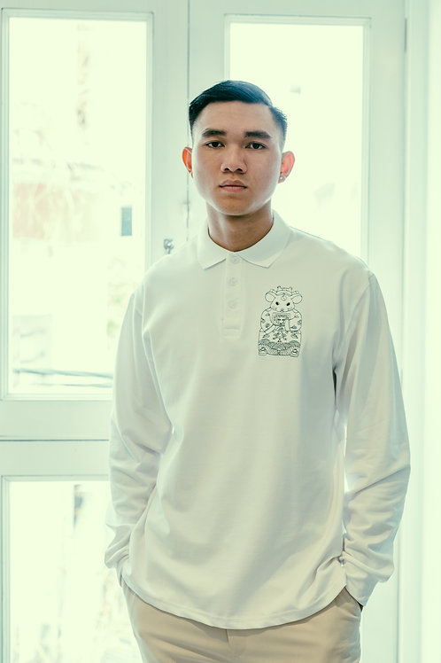 CANH TY OVERSIZED POLO WITH B&W EMBROIDERY