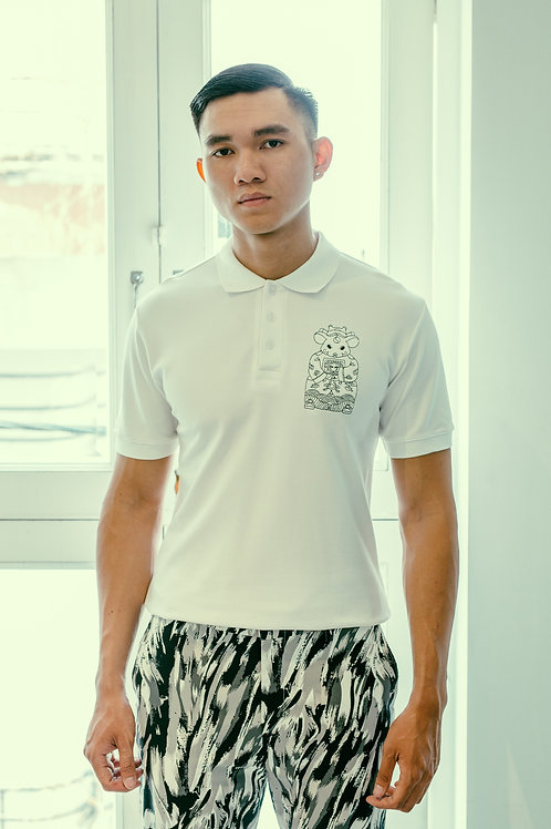 CANH TY POLO WITH B&W EMBROIDERY