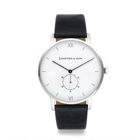 "KAPTEN & SON HERITAGE SILVER ""BLACK LEATHER"" WATCH"