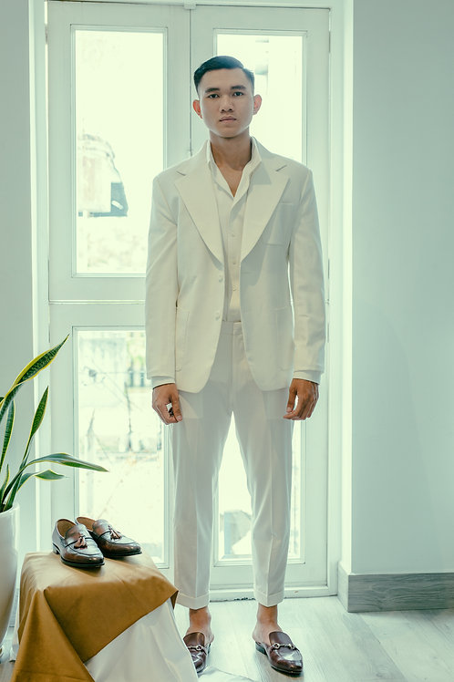 THE EXTRA NOTCHED JACKET IN WHITE LINEN FABRIC