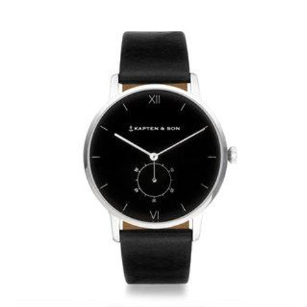"KAPTEN & SON HERITAGE SILVER ""ALL BLACK"" WATCH"
