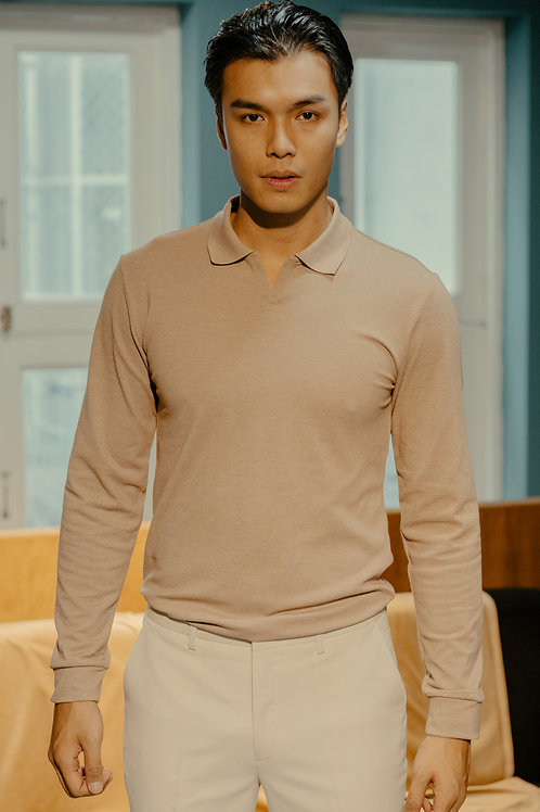 Buttonless Polo Shirt with Long Sleeves
