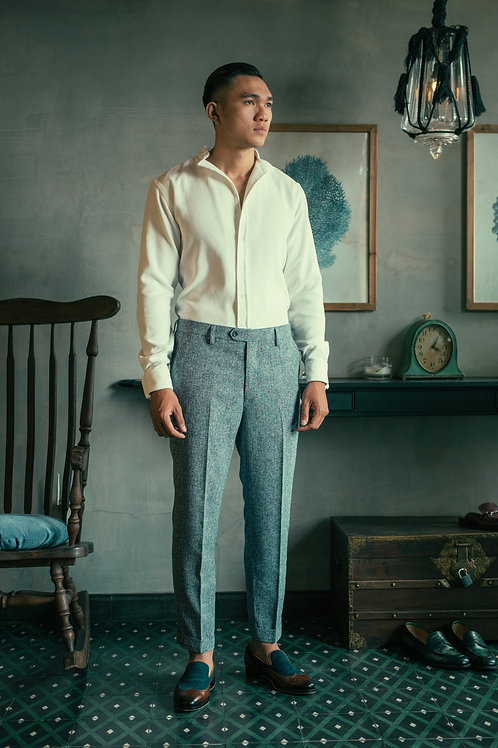 TAILORED TWEEDS PANTS WITH ROLLING UP DETAILS
