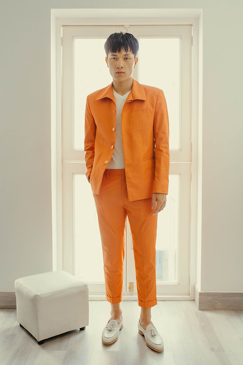 TAILORED CORAL PANTS WITH ROLLING-UP LEG