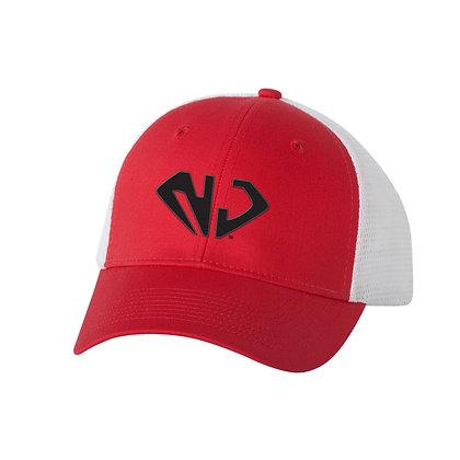 White/Red Trucker Hat (BLK NJ)