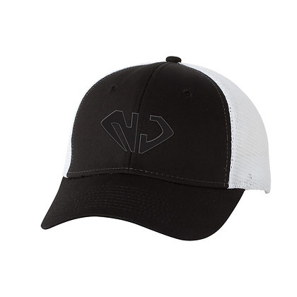 White/Black Trucker Hat (BLK NJ)