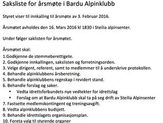 Årsmøtet 16 mars kl 1830 - Saksliste