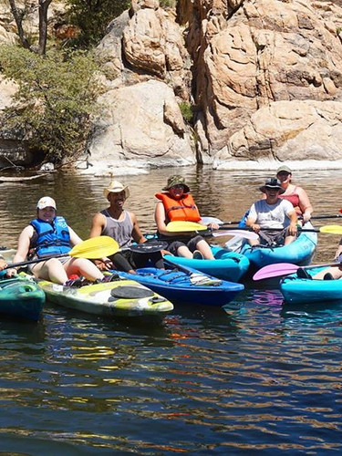Group kayaking adventure