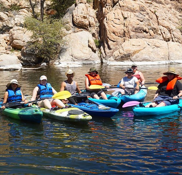 Group kayaking adventure