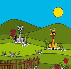 Cats & Dogs - Dessin Illustrator grand format pour vitrine