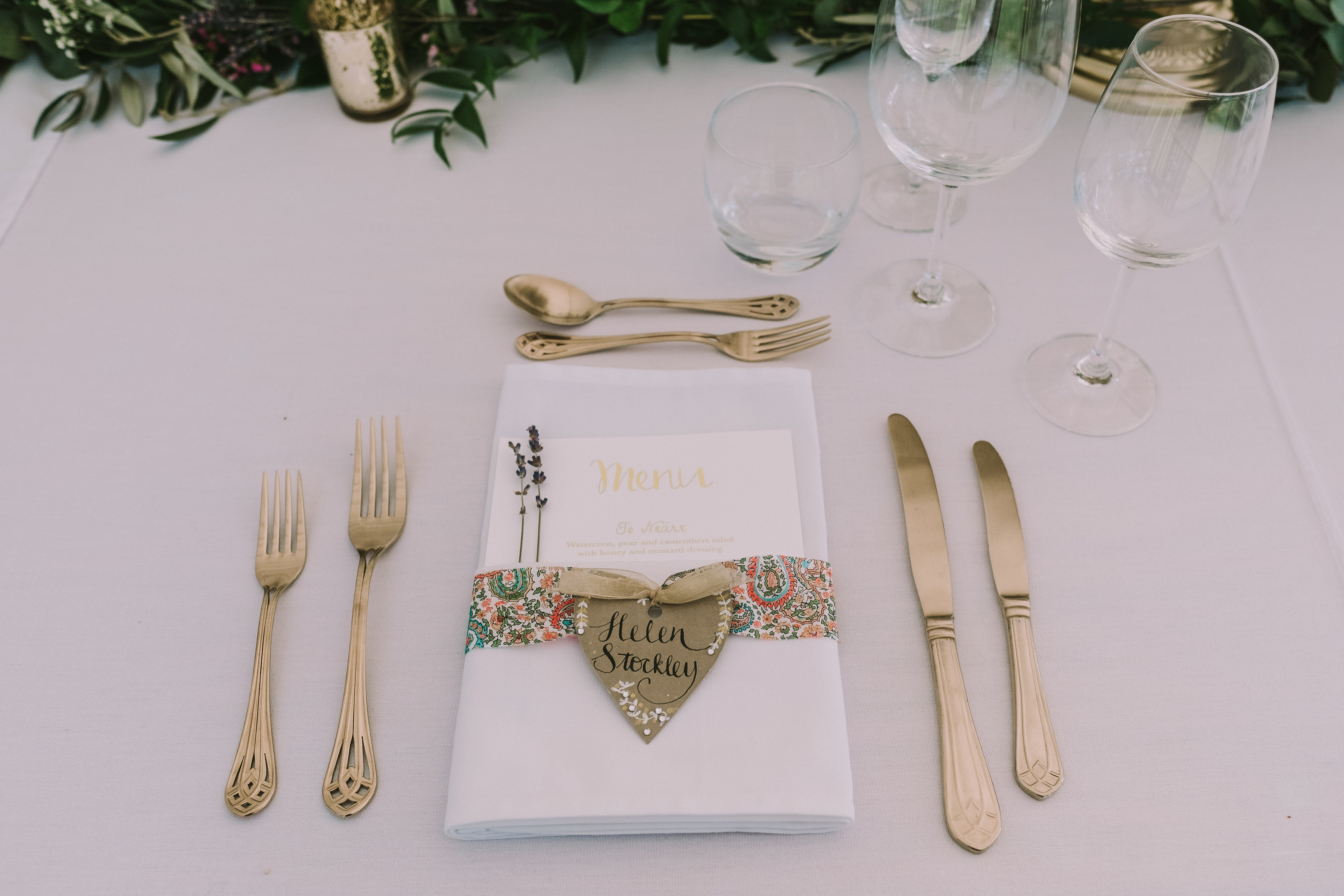 Gold Cutlery & Paisley Print
