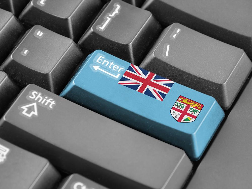 keyboard with Fiji flag on Enter key
