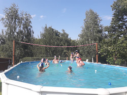 chilling in our swimming pool