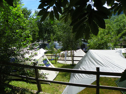 view on the tents