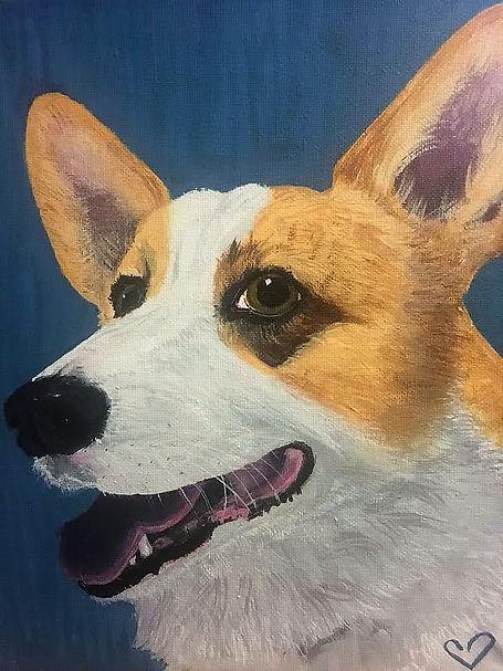 Duncan, The Corgi.  Acrylic Pet Portrait by Kyla Mullen. 2017