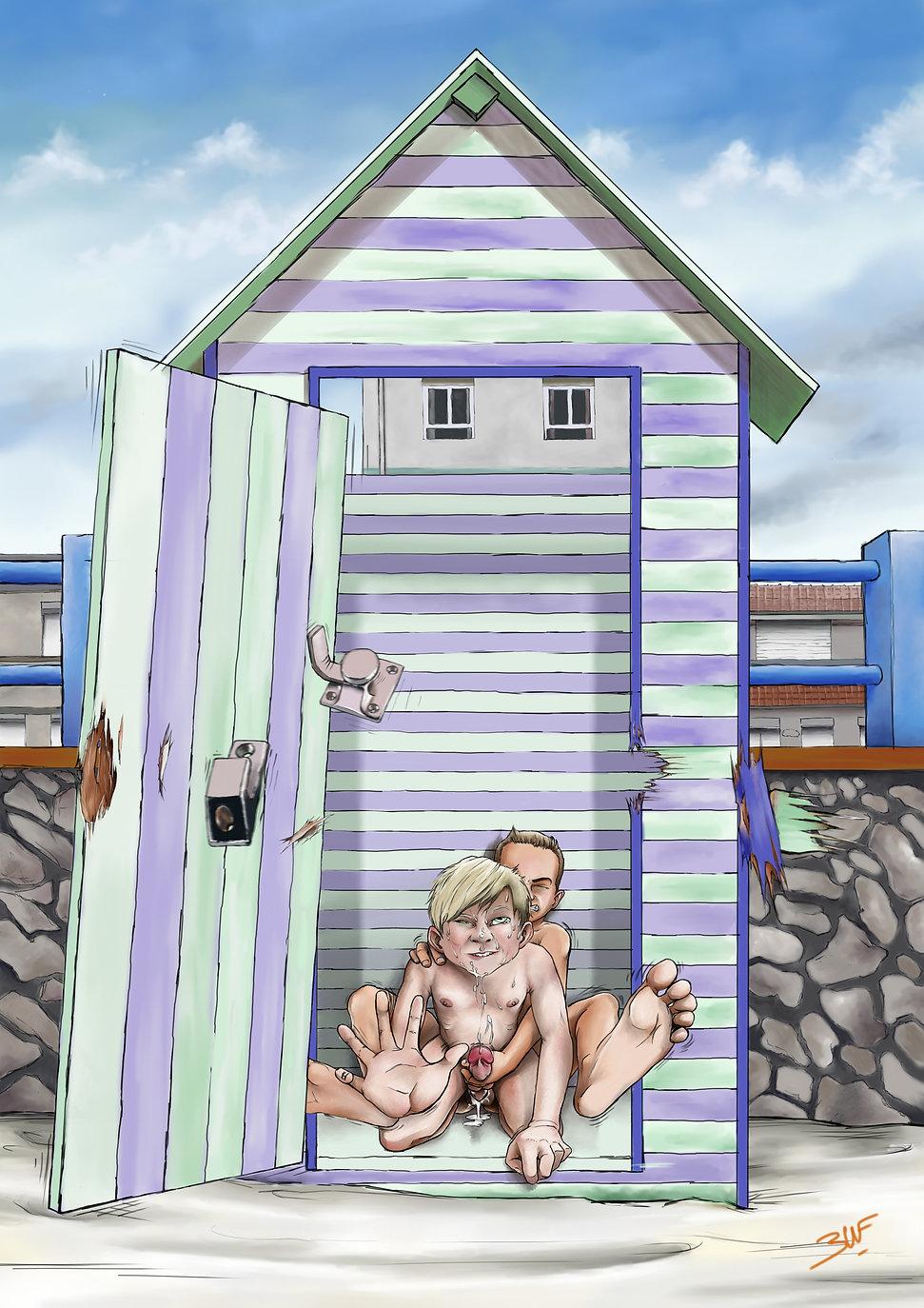 Kevin défonce le p'tit cul d'Arthus dans une cabine de plage et lui sperme dedans.