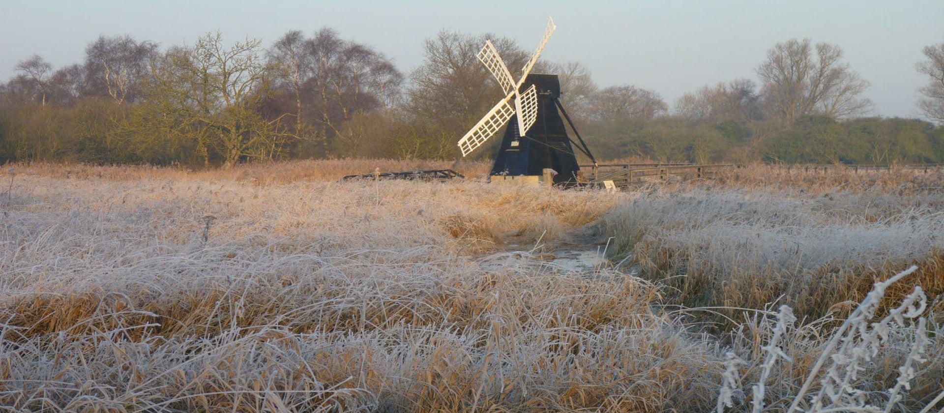 wicken fen windpump in frost