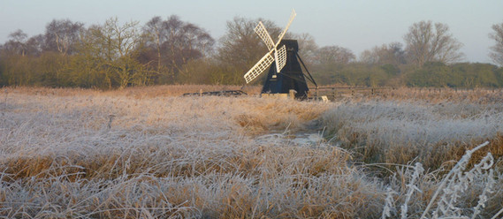 wicken fen windpump in frost