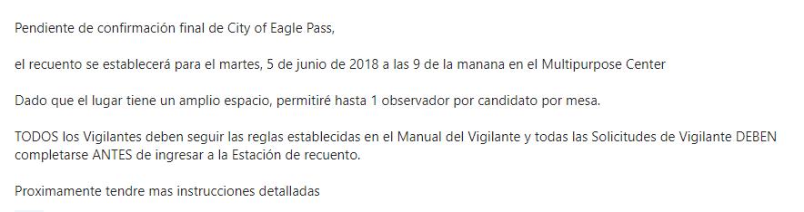 Luis Ruiz presidente del partido democrata en el condado de maverick, dio a conoser que el recuento de votos de la elección para juez del condado de Maverick, sera este proximo 5 de Junio, asi lo informa en el comunicado.