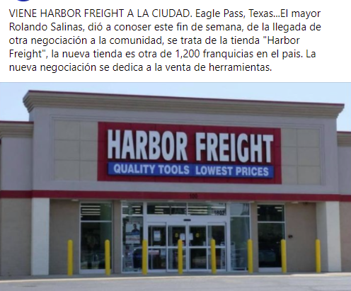 """Viene """"Harbor Freight"""" a Eagle Pass!."""