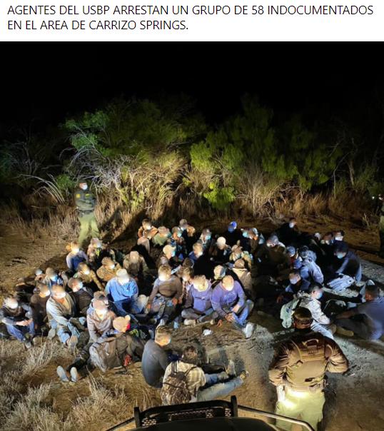 El USBP arresta a 58 personas, cerca de Carrizo Springs.