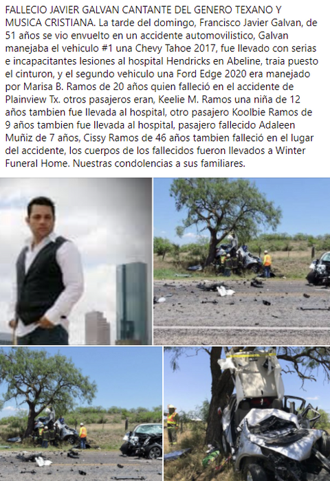 Falleció Javier Galvan, y tres personas mas en accidente vehicular.