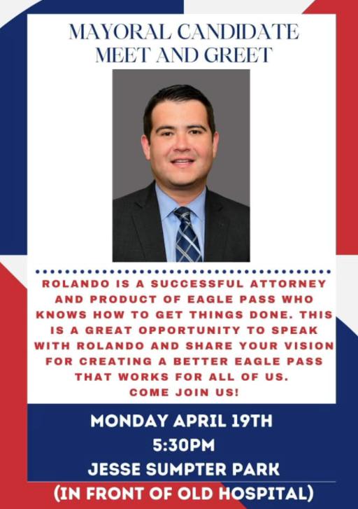 Vota por Rolando Salinas, para Mayor de la ciudad de Eagle Pass!