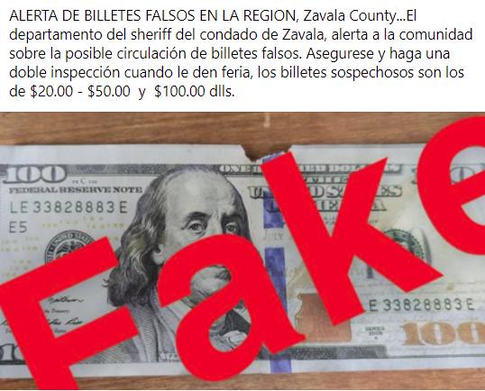 Alerta sobre billetes falsos en la región.